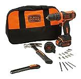 BLACK+DECKER BDCDD12HTSA 10.8V Cordless Drill Kit (Orange,24-Pieces)