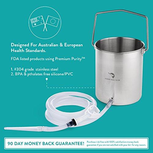 Aussie Health Co. schadstofffreier Edelstahl-Einlauf Eimer Kit. 2 Liter. Phthalate & BPA-frei. Wiederverwendbar für zu Hause, für Kaffee, Einlauf zur Wasser Darm-Reinigung und