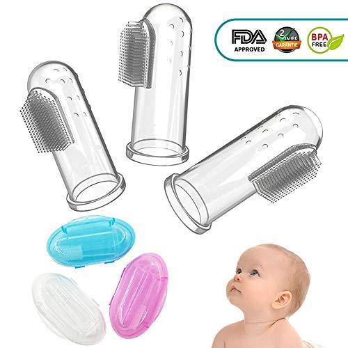 CalMyotis® Baby Zahnbürste, Fingerzahnbürste baby, Zahnpflege, Kindermundpflege und Zahnfleischmassage für Babys 0-24 Monate (3 Stück baby toothbrush mit Aufbewahrungsbox)