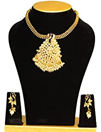JP Fashions American Diamond And Pearl Long Strand Haram Necklace With American Diamond And Pearl Earrings Jewellery... - B078VR5T9X