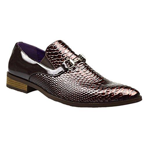 Scarpe da uomo, con fibbia, di color marrone, stile formale o informale, numero inglese 6, 7, 8, 9, 10, 11 Marrone (marrone)