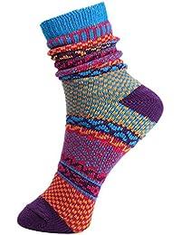V-SOL 2 pares Hombre Calcetines Vintage Colores Casual Socks Algodón Respirable (5FWZ12@C)