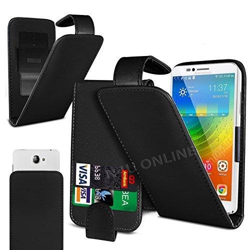 Preisvergleich Produktbild N4U Online - Clip On Kunstelder Klapptasche Cover Tasche Für Motorola Moto G (3rd gen) - Verschiedene Farben - Schwarz