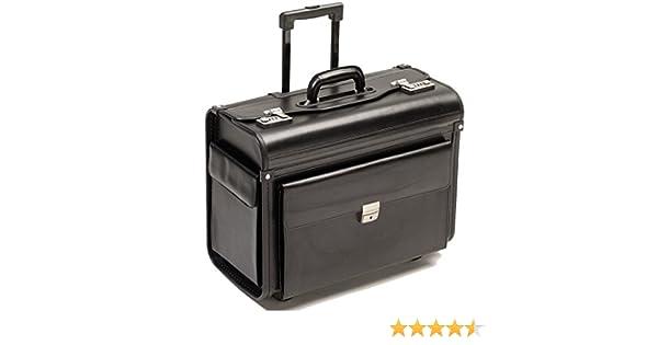 fcbb86536e BORSE PILOTA Borsa da viaggio con ruote rullo trolley nero vera pelle XL:  Amazon.it: Valigeria