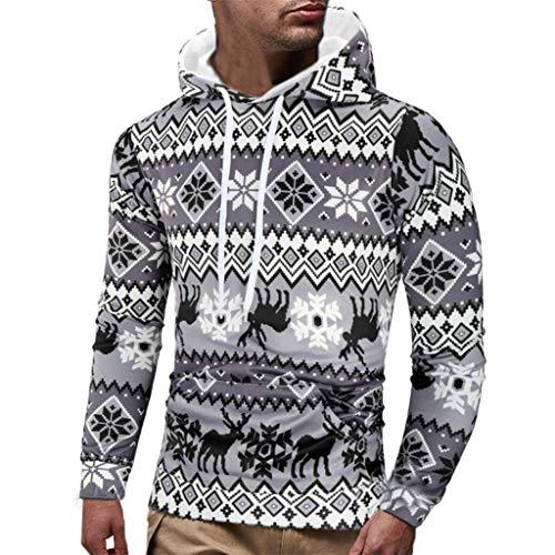 Felpe sportive con cappuccio natale uomo maglie alce manica lunga felpa pullover cappotto autunno inverno giacca elegante sweatshirt casual maglietta tops qinsling