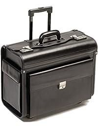 Pilotenkoffer mit Rollen Pilotentrolley mit Vortasche , Notebookfach ECHT LEDER schwarz XL 28600