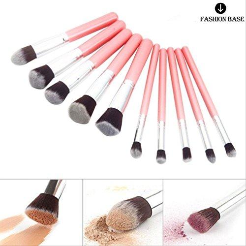 Lot de 10 pinceaux à maquillage de qualité professionnelle Fashion Base™, fond de teint, fard à paupières, de Kabuki