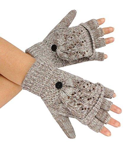 caripe 1 Paar fingerlose Handschuhe mit Klappe Fäustlinge Strass Nieten- flip-top1 (beige) (Beige Klappe)