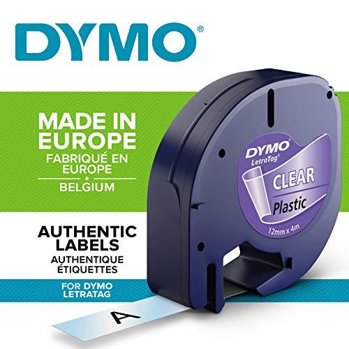 Dymo LetraTag Authentisch Kunststoffetiketten (12 mm x 4 m, schwarz auf transparent, für Dymo LetraTag Etikettendrucker)