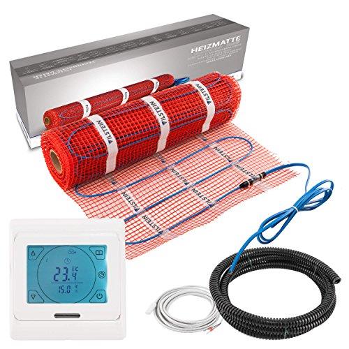 Thermostat-boden (VILSTEIN© Elektrische Fußbodenheizung (3m² - 6m lang/0,5m breit) Elektro Fußboden-Heizmatte 150W/m² für Fliesen-boden Fußboden-Heizsystem Elektrisch inkl. Thermostat TWIN Technologie Komplett-Set)