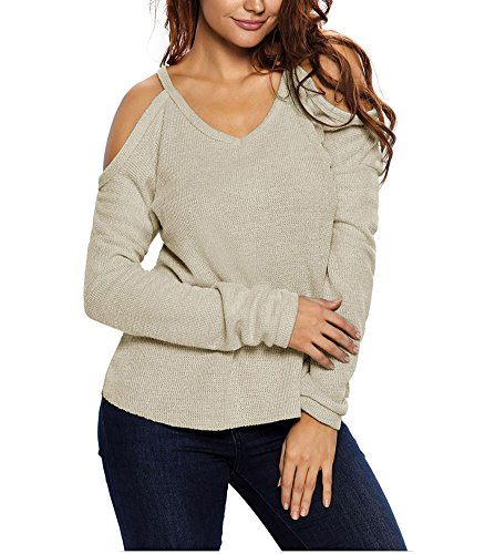Femmes Casual Col Rond Manche Longue Pullover Jumper Tops Tricots Hauts Sweatshir Abricot