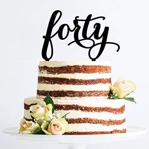 PotteLove Forty 40th Birthday Cake Topper,Happy 40 Birthday Cake Decoration,40th Wedding Anniversary Party Supplies