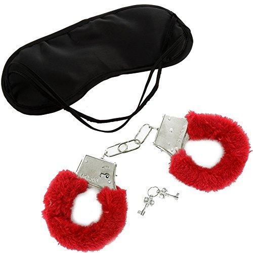 Liebes Handschellen Love Cuffs Plüsch + Augenbinde BDSM Set (schwarz-rot)