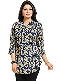 Color Petal Floral Design Printed Short Kurti/Tunic/Top For Women And Girls