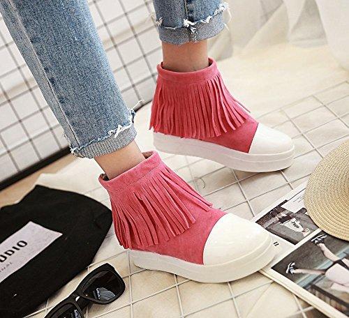 Mee Shoes Damen runde Reißverschluss Quaste Ankle Boots Pink