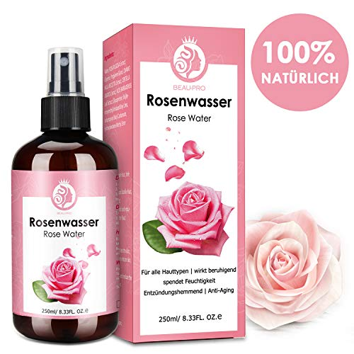Rosenwasser,Rose Water,100% Reines rosenwasser bio,Naturkosmetik,Pur,Vegan,Naturreines Rosen-Hydrolat-Rose Destilliertes