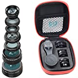 Omkuwl APEXEL APL-DG7 7 In 1 Universal Clip-On Cell Phone Lens Kaleidoscope Fisheye Macro Telephoto CPL Lens For IPhone Xiaomi Huawei