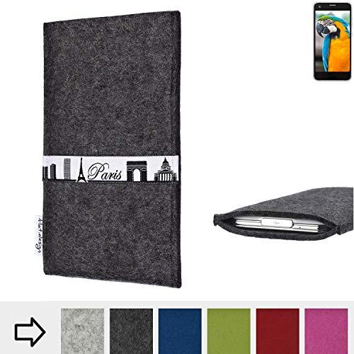flat.design für Vestel V3 5040 Schutzhülle Handy Case Skyline mit Webband Paris - Maßanfertigung der Schutztasche Handy Hülle aus 100% Wollfilz (anthrazit) für Vestel V3 5040