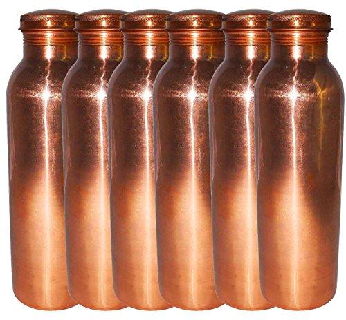 AsiaCraft pure Bouteille Copper Joint Gratuit pour Voyage 900 ML, Lot de 6