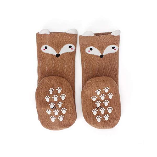 LACOFIA 6 Pares de calcetines largos de altos para bebé niñas Medias de algodón de punto princesa infantiles niña 3