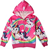 Leslady Camisetas para niña Sudadera con Capucha Unicornio con Estampado 3D con Cremallera