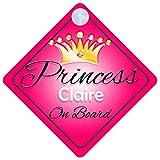 Pancarte de voiture personnalisable pour fille avec inscription «Princess Claire on Board» / Cadeau enfant 001