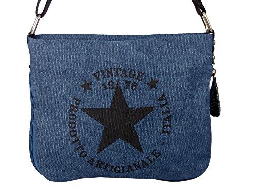 Coole Canvas Style Umhängetasche - Vintage Stern - Vernietung an der Seite - umlaufender Reißverschluß - Damen Mädchen Teenager Tasche Blau