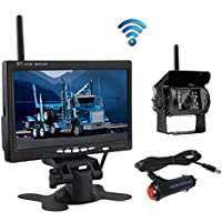 """Wireless Reverse Camera, Podofo@ 7"""" HD TFT LCD Vehicle Rear View Monitor + Waterproof Backup Camera Night Vision Parking System with Car Cigarette Lighter Charger For Truck RV Trailer( Nein GUIDE LINE)"""