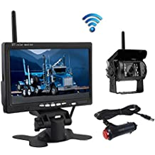 "Wireless Reverse Camera, Podofo@ 7"" HD TFT LCD Vehicle Rear View Monitor + Waterproof Backup Camera Night Vision Parking System with Car Cigarette Lighter Charger For Truck RV Trailer( Nein GUIDE LINE)"