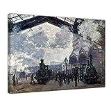 Leinwandbild - Claude Monet - Bahnhof Saint Lazare in Paris, Ankunft eines Zuges - 70x50cm einteilig - Alte Meister - Bilder als Leinwanddruck - Kunstdruck - Leinwandbilder - Bild auf Leinwand - Wandbild von Bilderdepot24