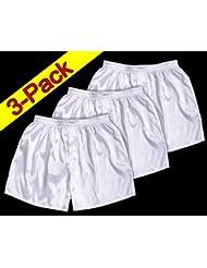 (M) 3 shorts pour Blanc Hommes Boxer Shorts Sous-vêtements Vêtements de nuit en satin