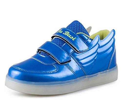 Firstmall-LED Chaussures 7 Couleur Unisexe garçons et filles enfants USB Charge LED usure Confort Basses Ailes légères Chaussures de Sports Baskets Bleu
