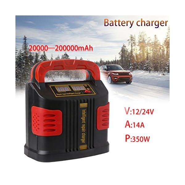 Meatyhjk 350W 14A Auto Plus Ajustar LCD cargador de batería 12V-24V arrancador de coche portátil