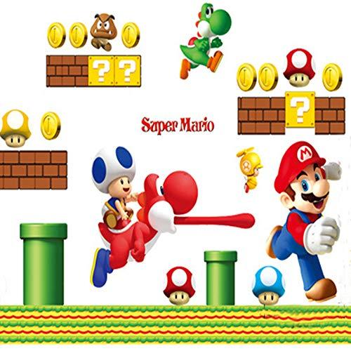 Addfun®Herausnehmbar Mauer Aufkleber Karikatur Super Mario (Mario Schimmel)