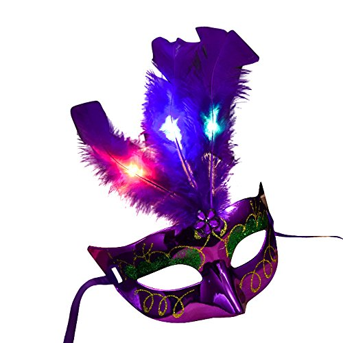 Maskenball Masken Damen, QHJ Frauen venezianischen LED-Maske Maskerade Kostümfest Prinzessin Federmasken Weihnachtsfeier, Karneval, Cosplay-Party - Venezianischen Karneval Prinzessin Kostüm