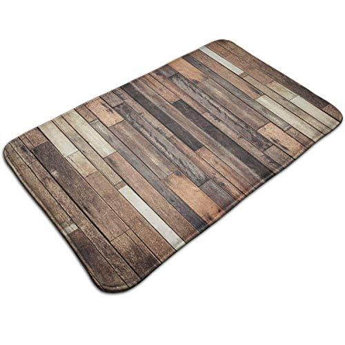 WITHY Vintage Grunge Wood Bathroom Mat Anti Slippery Door Floor Mat Indoor/Outdoor/Front Entrance Welcome Doormat(15.7X23.6 inch/40X60cm) (Beach Wood Flooring)