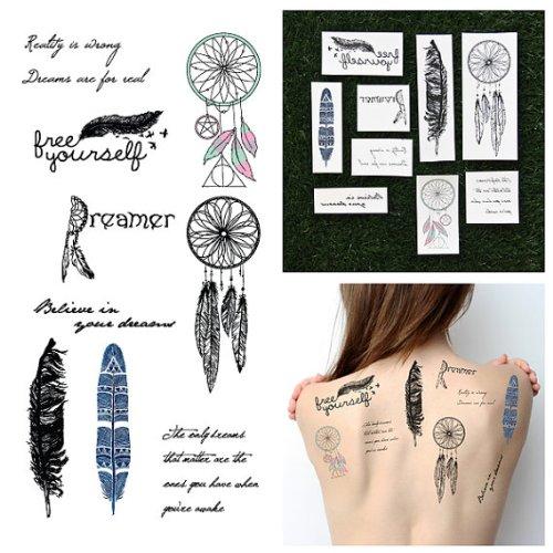 tattify-tatouages-temporaires-thme-attapeur-de-rves-l-ger-comme-une-plume-set-de-18