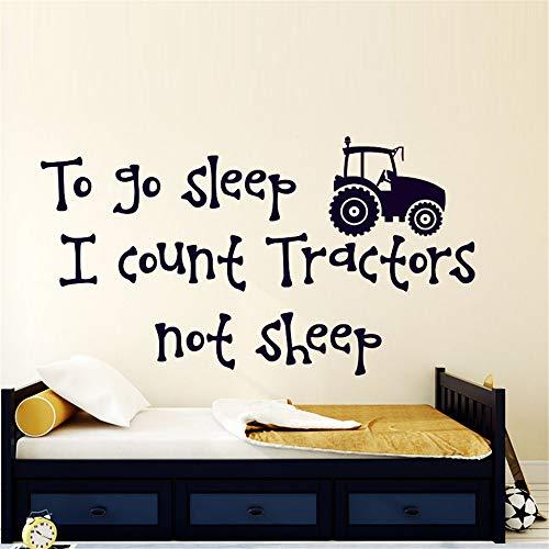 wlwhaoo Ich Zähle Traktoren Nicht Schafe Wandaufkleber Jungen Room Home Decor Vinyl Aufkleber Abnehmbare Cartoon Wandtattoos Für Kinder Schlafzimmer weiß 59 cm x 32 cm