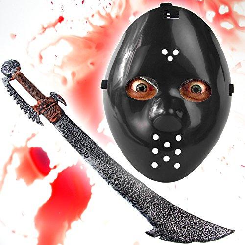 Rüstung Kostüm Ork - HALLOWEEN Set Spezial - Jason Maske schwarz + Ork Schwert