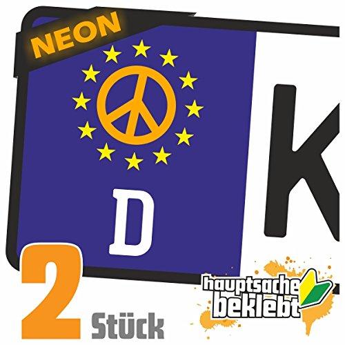 Peace - Friedenszeichen Kennzeichen Aufkleber Sticker Nummernschild - IN 15 FARBEN (Friedenszeichen-autoaufkleber)