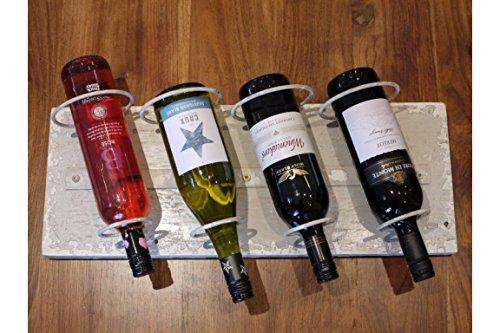 Distressed Wein (Dutch Imports weiß distressed Holz Metall 4Wein Flasche Halter Wand montiert)