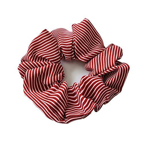 1 Stück Streifen Haar Seil Chiffon Scrunchies Bobbles Haargummis für Frauen und Mädchen (red)