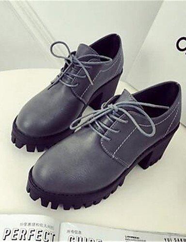 WSS 2016 Chaussures Femme-Bureau & Travail / Décontracté-Noir / Gris-Gros Talon-Creepers-Talons-Similicuir gray-us5 / eu35 / uk3 / cn34