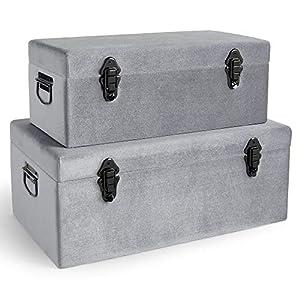 Beautify 2-er Set Silber-Aufbewahrungskoffer aus Samt – Luxe Kollektion – Metallisch – Schimmer – Zinn – Für Schlafzimmer, Wohnzimmer, Ankleidezimmer, Flur