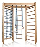 Turnwand Kinder Gym Klettergerüst ˝Sport-4-220˝ Holz Sportgerät Kletterwand Sprossenwand mit Stange Fitness