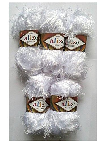 5 x 100 Gramm Alize Strickgarn mit Fransen weiss Nr. 55, 500 Gramm Plüsch Fransengarn