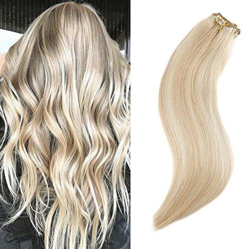 Ugeat 16 Zoll/40cm 120g Voller Kopf Clip in Echthaar Extensions Farbe Golden Blonde 16 Highlight Farbe 22 100% Real Remy Haarverlangerung Clips Extensions -