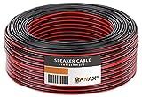 Manax SC2075RB-25 Lautpsrecherkabel 2x0,75 mm² CCA (Boxenkabel/Audiokabel), Ring 25 m, rot/schwarz