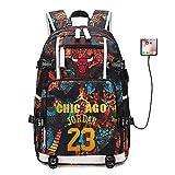 Stella del Giocatore di Basket Michael Jordan Zaino Multifunzionale Zaino da Viaggio per Studenti Fan Bookbag per Uomo Donna (Stile 1)