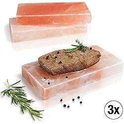 Amazy BBQ Salzstein Zum Grillen (3 Stück) – Hochwertige Salzplanke für die Zubereitung von Fleisch und Fisch mit leckerer Salzkruste auf Dem Grill Oder im Backofen